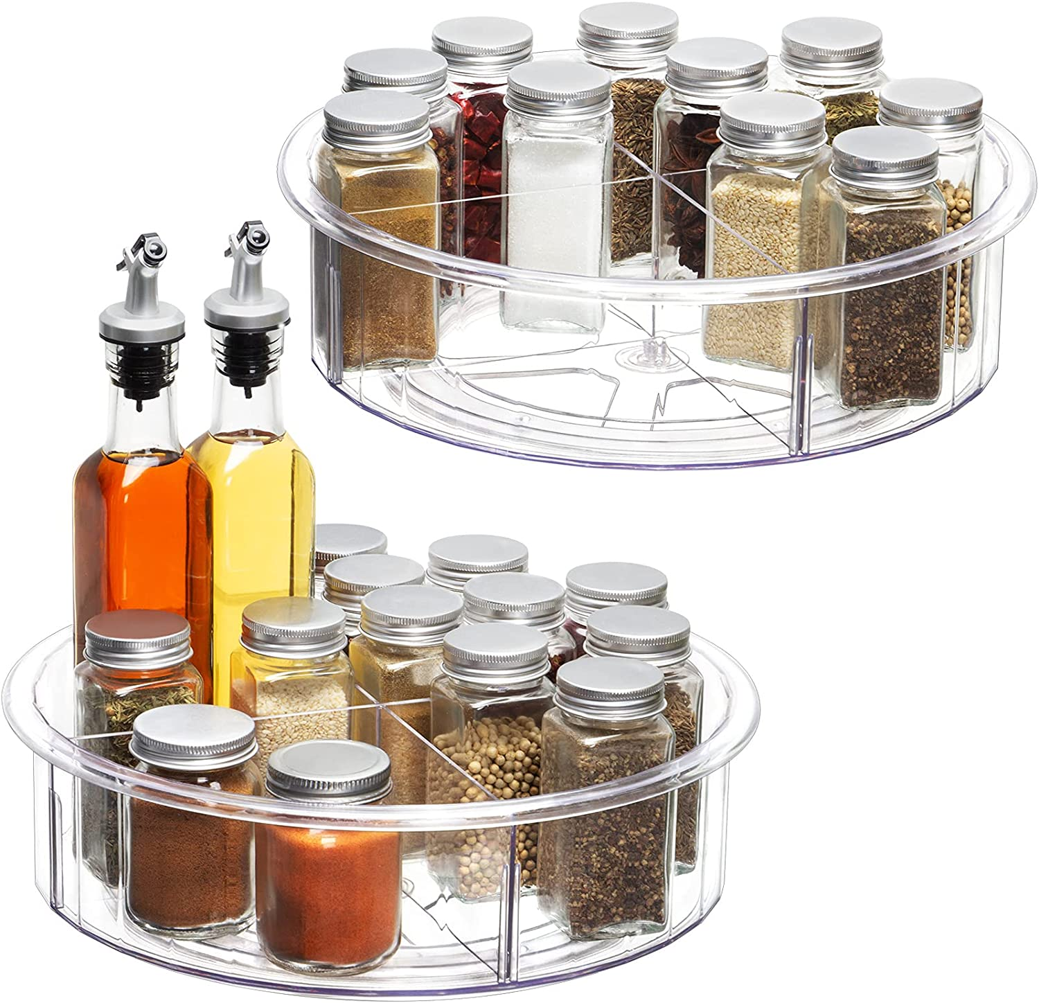 12 Inch Lazy Susan Cabinet Organizer - 2 Pack Round Clear Spinning Organization & Storage Container Bin Turntable Plastic Condiment Spice with Dividers for Pantry Kitchen Fridge Vanity Bathroom Makeup