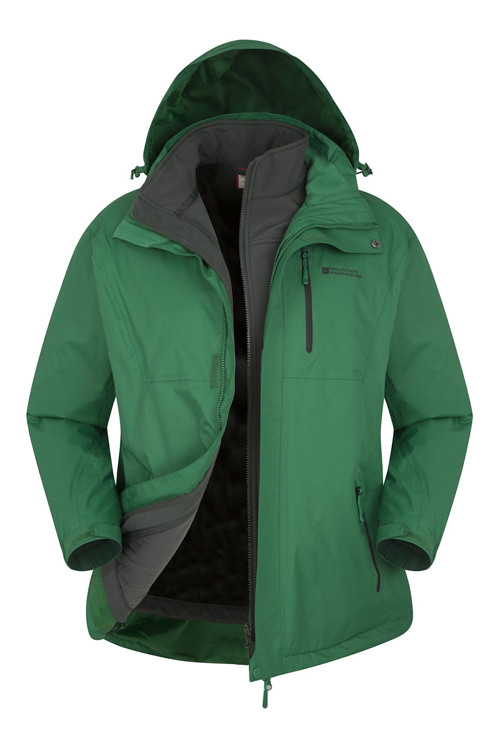 Mountain Warehouse Bracken Extreme 3in1 Mens Jacket –Durable Raincoat Green Large