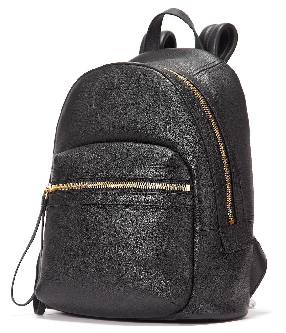 EMINI HOUSE Women Genuine Leather Backpack School Bag Girls Ladies Daily Purse Travel Bag Rucksack-Black