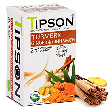 Tipson Organic Turmeric Herbal Tea - Ginger And Cinnamon Flavor - 25 Bags  Per Box - Traditional Herbal