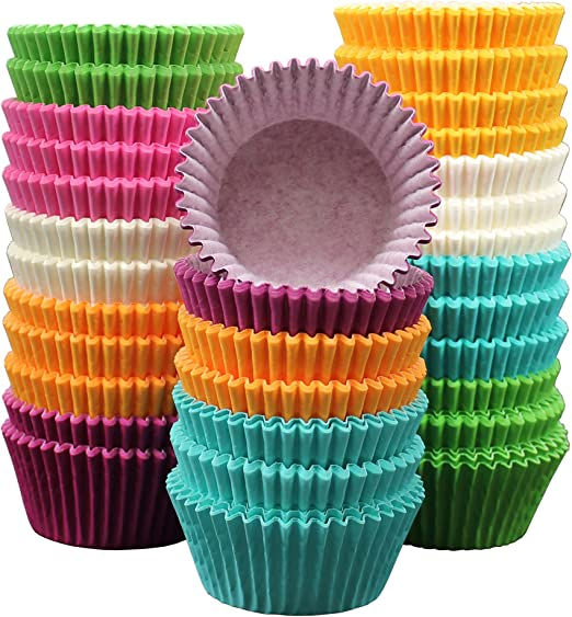 100 Foil Paper Coloured Cupcake Cases Liners Muffin Baking Cake Cup XG