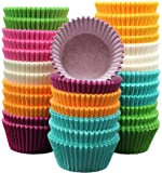 """MontoPack 300-Pack Holiday Party Rainbow Paper Baking Cups - 1.97"""" No Smell, Safe Food Grade Inks and Paper Grease Proof Cupcake Liners Perfect Cups for Cake Balls, Muffins, Cupcakes, and Candies"""