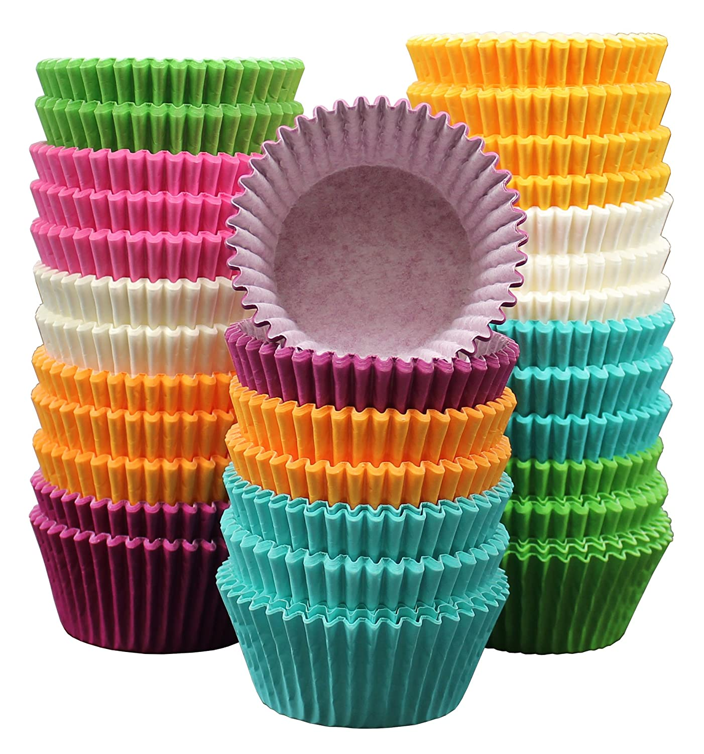 "MontoPack 300-Pack Holiday Party Rainbow Paper Baking Cups - 1.97"" No Smell, Safe Food Grade Inks and Paper Grease Proof Cupcake Liners Perfect Cups for Cake Balls, Muffins, Cupcakes, and Candies"