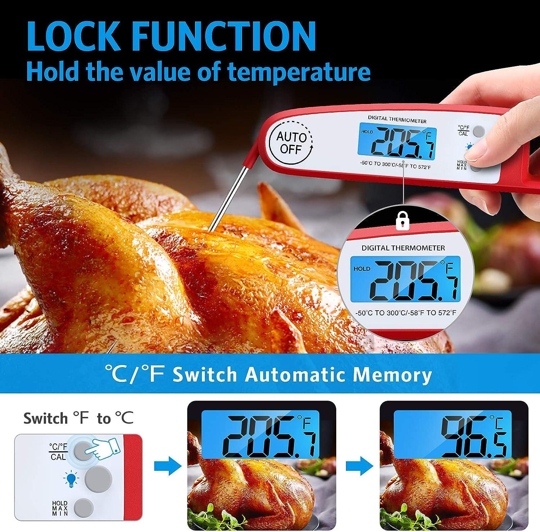 Hornear Cocinar Brifit Term/ómetro de Cocina Barbacoa Term/ómetro Digital Impermeable para Carne con Pantalla LCD Term/ómetro para Alimentos de Lectura Instant/ánea con Sonda Plegable para Carne