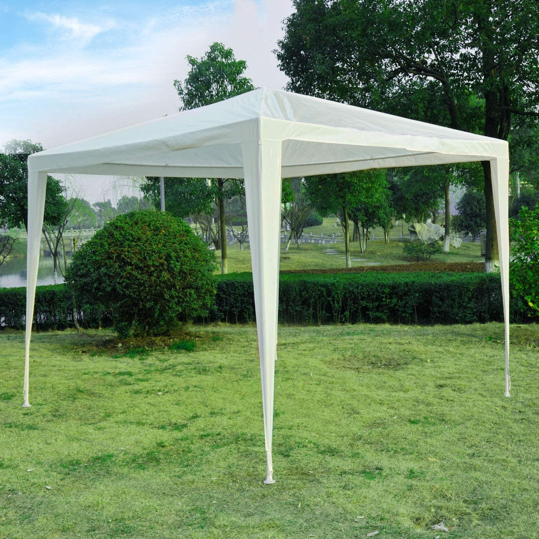 Outsunny 2, 7 m x 2, 7 m Garden Gazebo Marquee de Alta Resistencia de Fiesta de Boda toldo Tienda de campaña al Aire Libre (Blanco): Amazon.es: Jardín