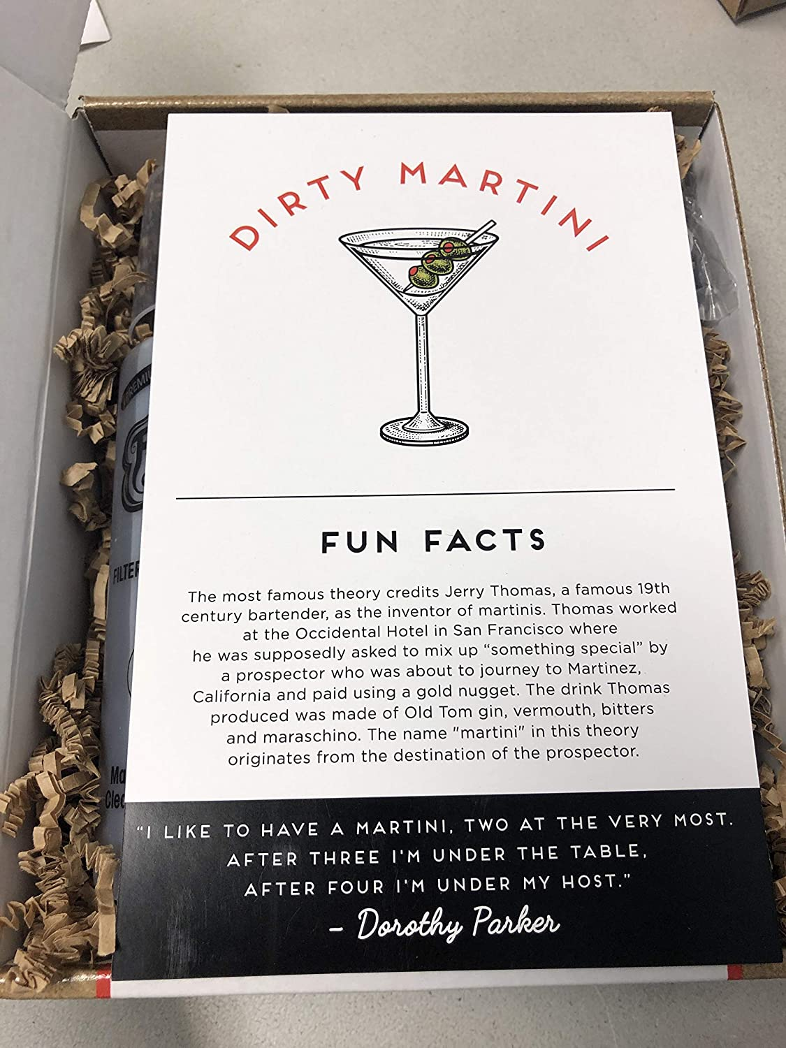 Dirty Martini Cocktail Kit makes 12 cocktails, alcohol not included