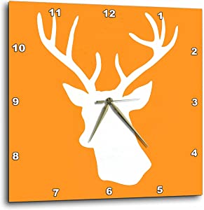 """3dRose DPP_179701_2 White Stag Head Silhouette on Orange Country Deer with Antlers Wall Clock, 13 by 13"""""""