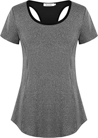 Ninedaily Women's Workout Shirts Open Back Yoga Running Fitness Exercise Tops