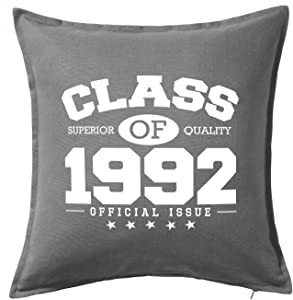 HARD EDGE DESIGN Class of 1992 Grey Throw Pillow with Duck Feather Filling