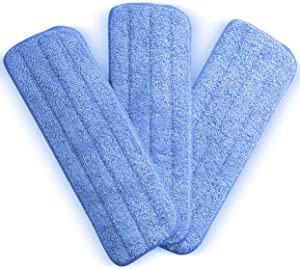 Washable Microfiber Mop Head (3 Pack) - Microfiber Replacement Mop Pads 16 x 5.5 Inches for Cleaning of Wet or Dry Floors - Professional Home/Office Cleaning Supplies, Blue