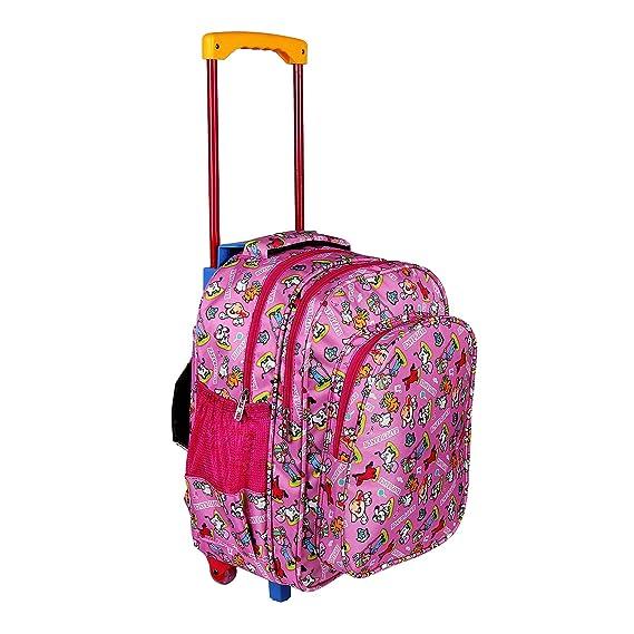 Da Tasche Waterproof Pink Trolley Printed School Bag/Backpack