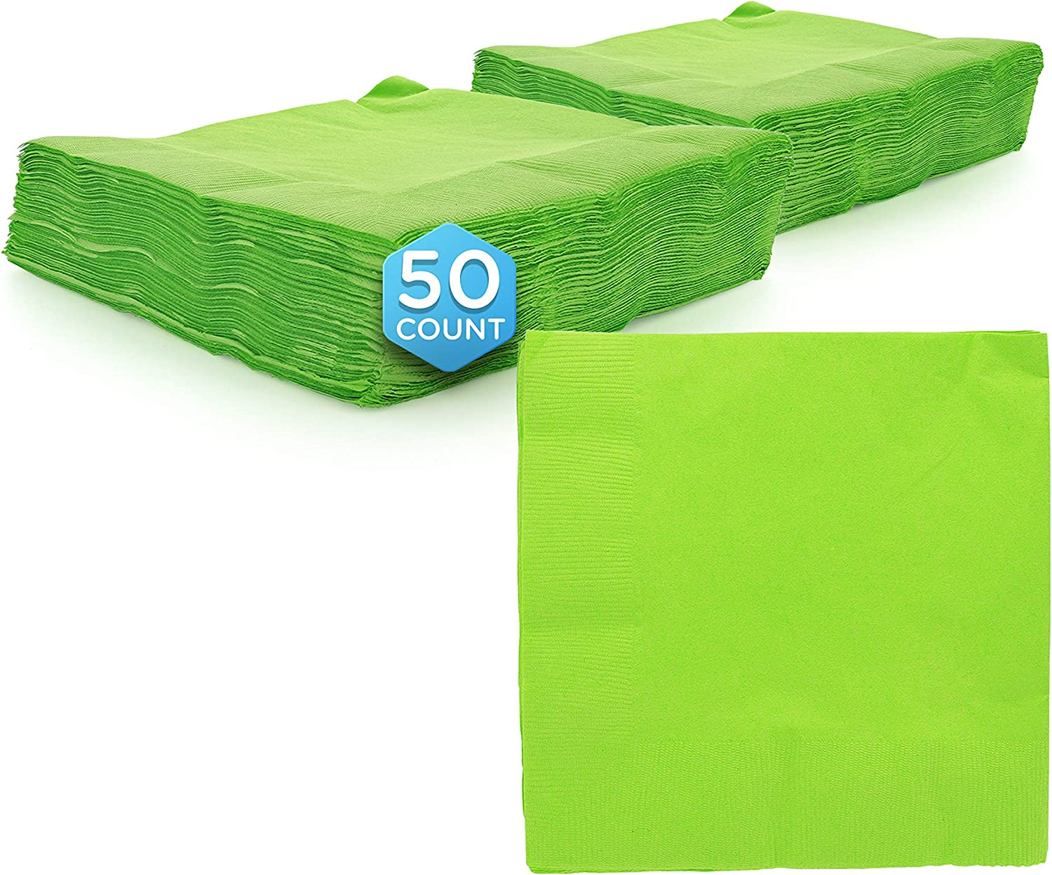 """Amcrate Big Party Pack 125 Count Kiwi Green Beverage Napkins - Ideal for Wedding, Party, Birthday, Dinner, Lunch, Cocktails. (5"""" x 5"""")"""