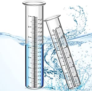 Gulfmew 2 Pieces Rain Gauge Glass Tube Replacement Rainfall Test Tube Rainfall Test Replacement Tube or Yard Garden Outdoor Home (6 Inches, 7 Inches Capacity)