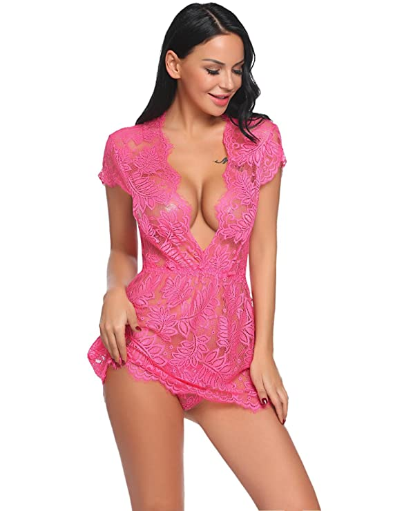 Avidlove Mujer Lencería Sexy Manga Corta Pijamas Camisones Encaje Babydoll con tanga 2 piezas: Amazon.es: Ropa y accesorios