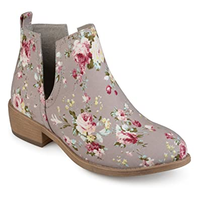 3d0fc4672 Amazon.com | Journee Collection Womens Floral Round Toe Side Slit Booties |  Ankle & Bootie