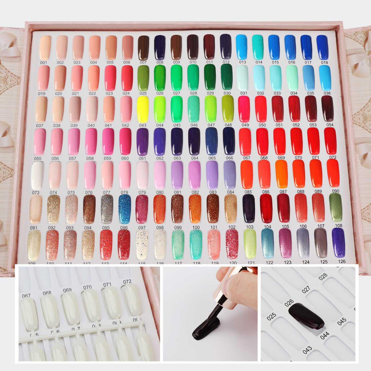 Segbeauty 126 Colors Nail Polish Colors Chart with 144 False Nail Tips, Nail Gel Polish Display Card...