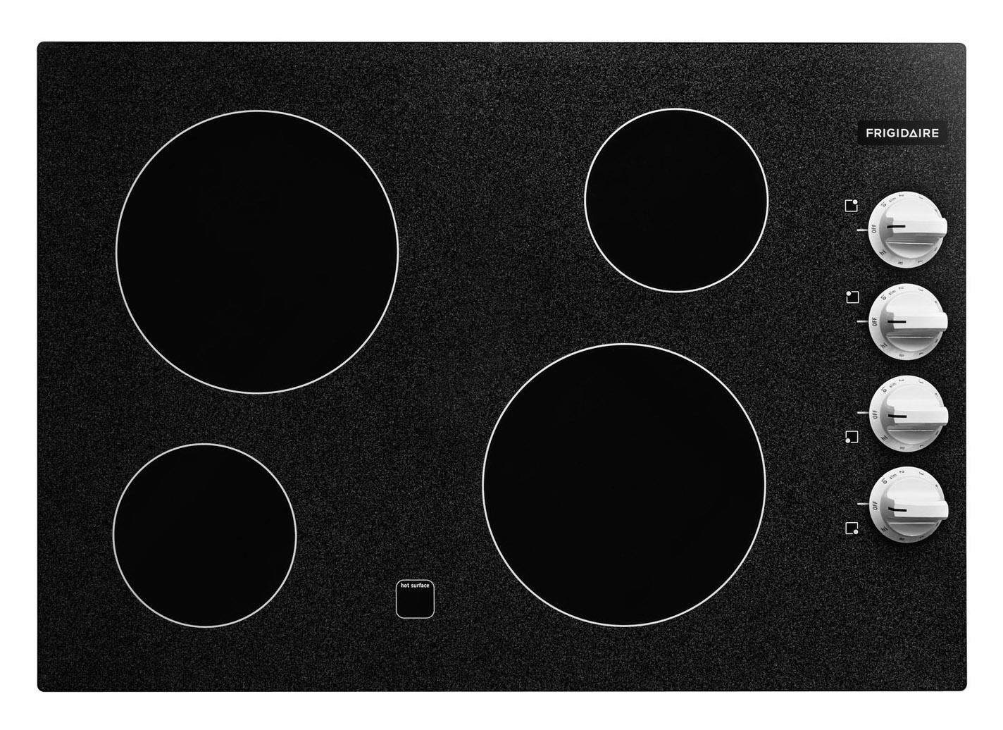 Frigidaire: FFEC3024LW 30'' Electric Cooktop with 4 Cooking Zones, Ready-Select Controls, Ceramic Glass Cooktop and SpillSaver Design: White Trim