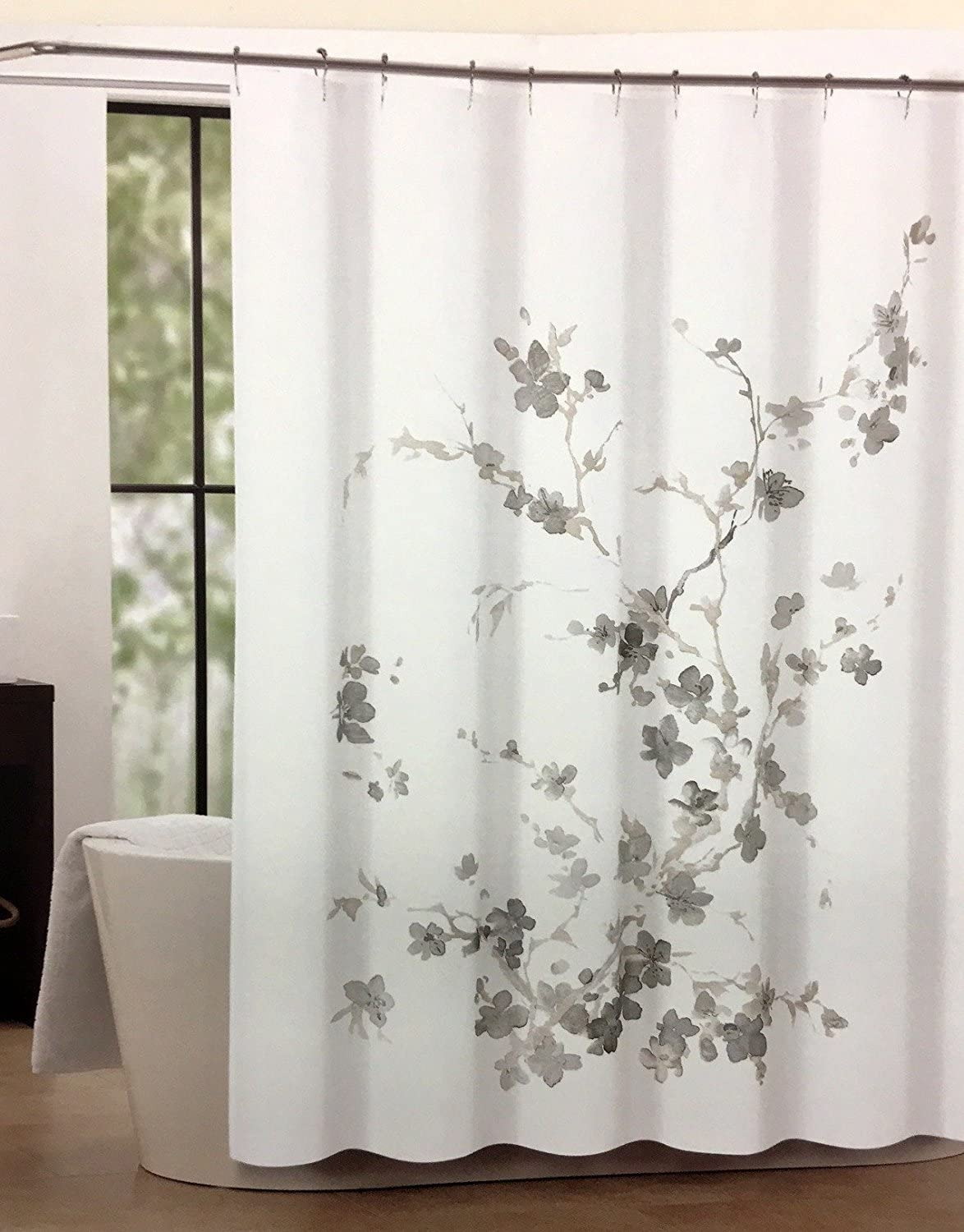 Tahari Luxury Cotton Blend Shower Curtain Printemps Gray Floral Branches