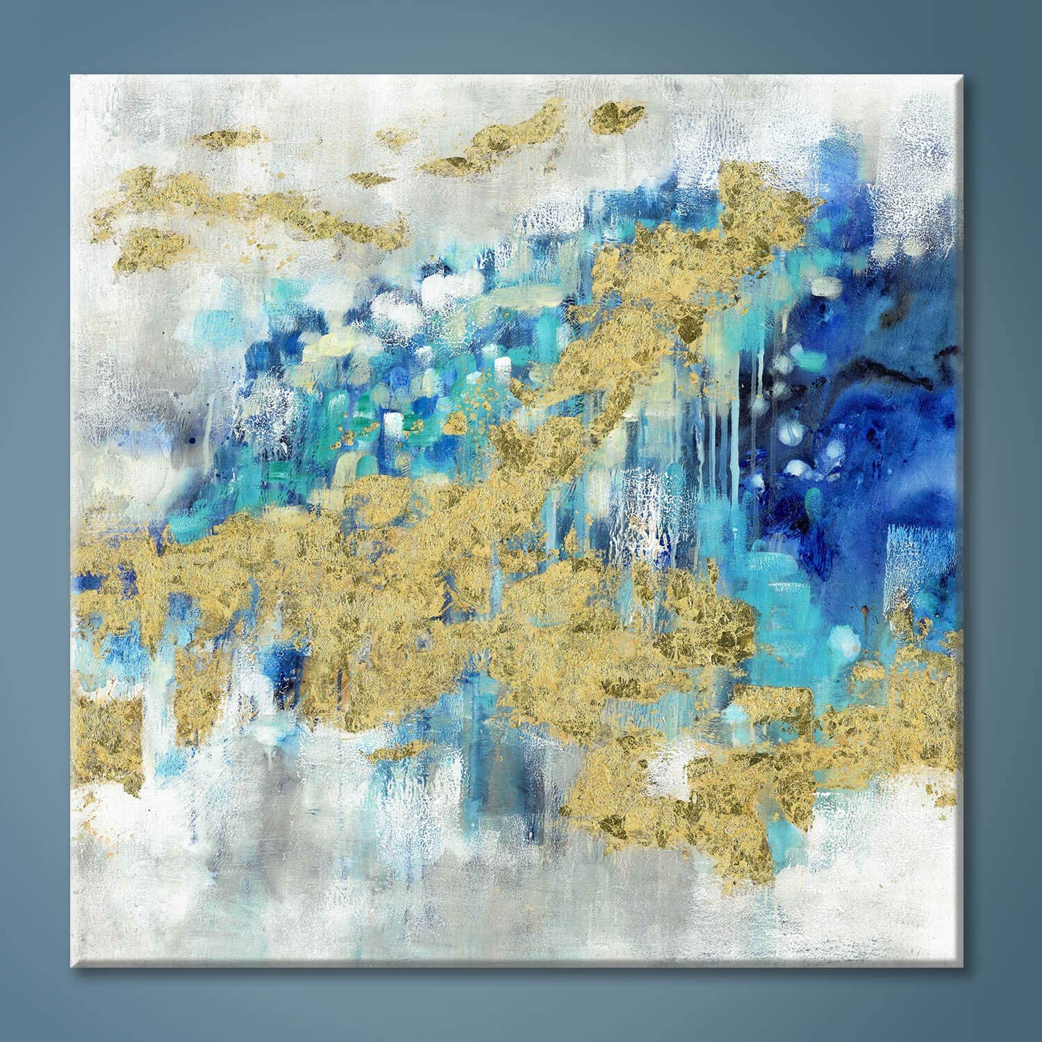 Abstract Modern Canvas Wall Art Painting: Blue Artwork Gold Foil Painted Picture White Grey Background Print for Office Home Living Room Wall Decor