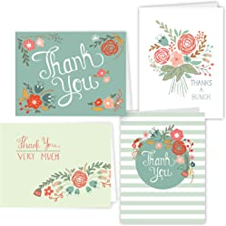 "One Jade Lane - Floral Festival - Designer Thank You Cards - Heavy Stock - 4 Designs - Set of 24 Folded Cards & Our ""Unique Fine Cornered Envelopes""."