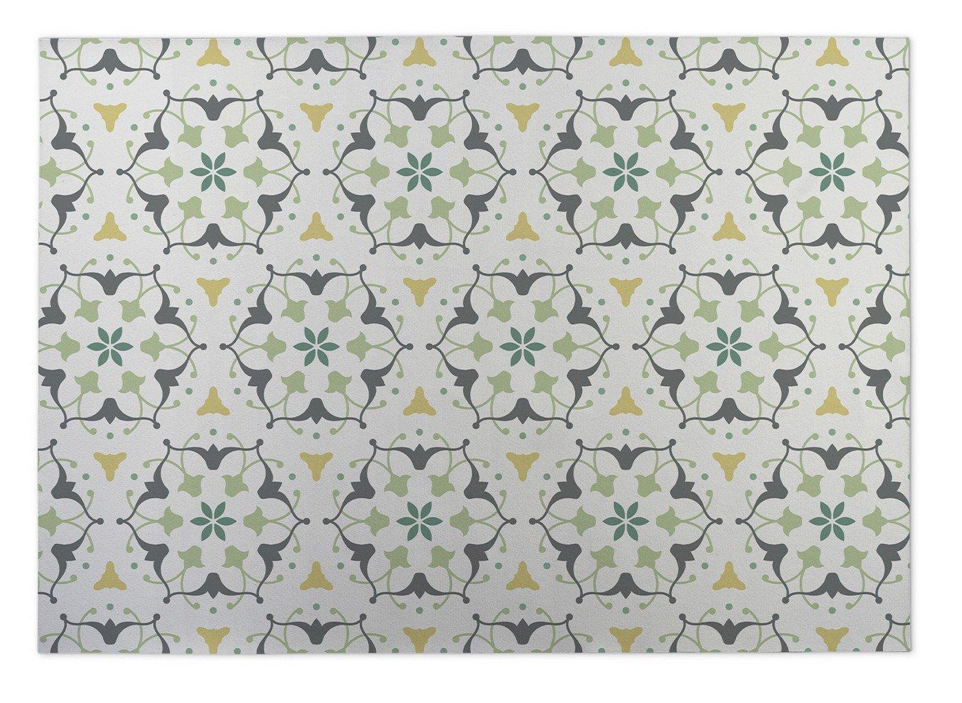 Ivory//Grey//Yellow//Green KAVKA Designs Kaleidoscope Indoor-Outdoor Floor Mat, Size: 24x36x0.2 - MGTAVC078FM23 -