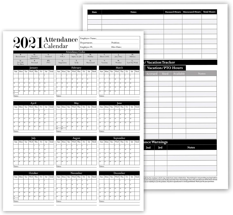 2021 Employee Attendance Calendar Amazon.: 2021 Employee Attendance Tracker: 28 Calendar Sheets