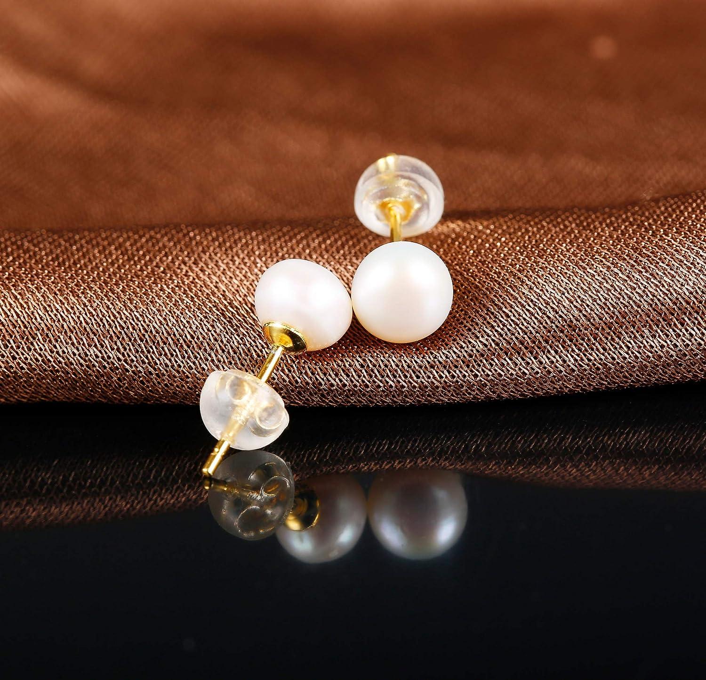 Sllaiss Boucles dOreilles en Perles dEau Douce Naturelles en Argent Sterling 925 pour Femmes 5MM 10MM Perles Rondes Boucles dOreilles Puces Hypoallerg/énique