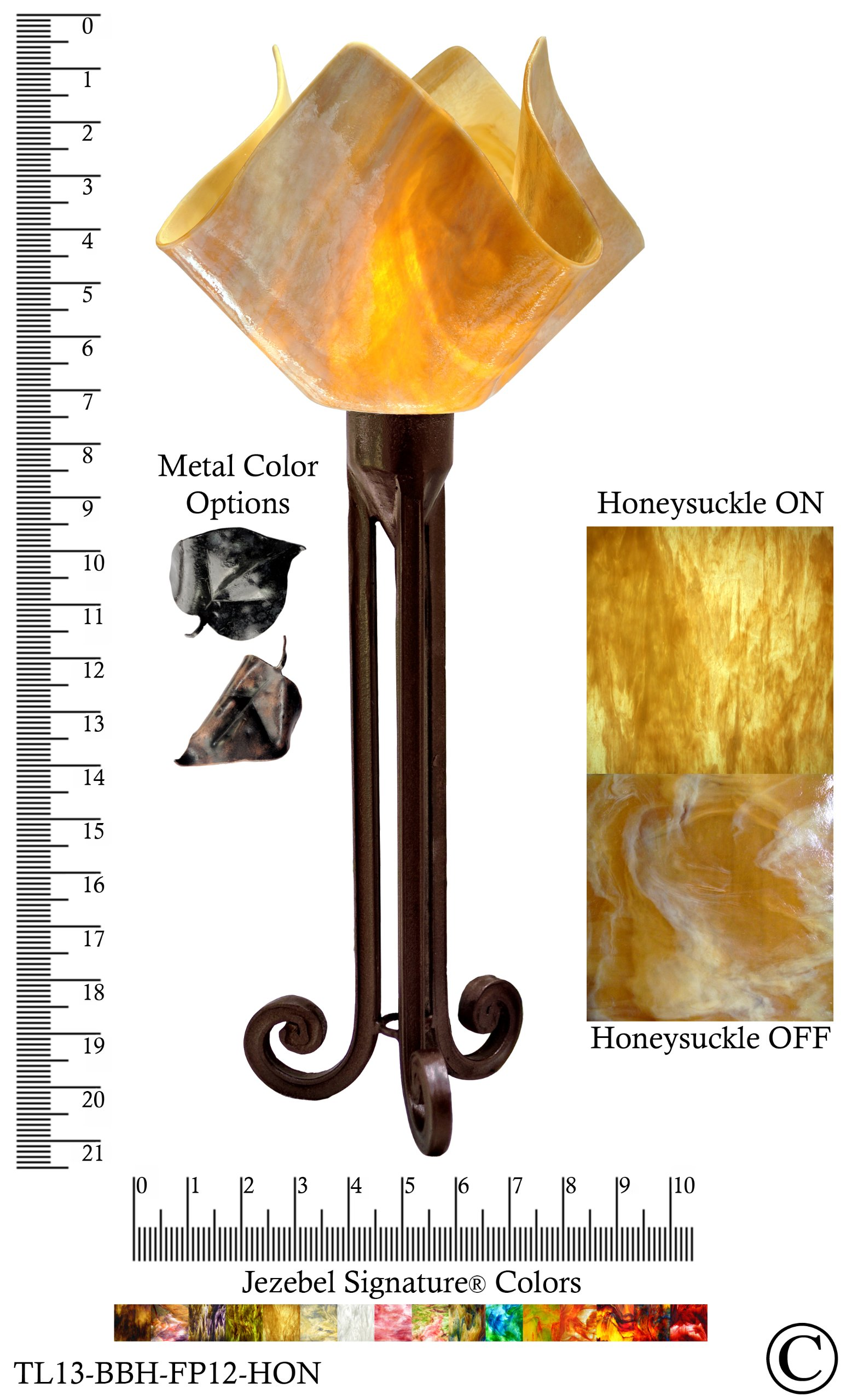 Jezebel Signature® Torch Light. Hardware: Brown with Brown Highlights. Glass: Honeysuckle, Flame Style