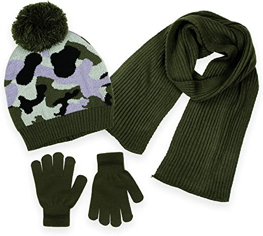 Boys Camo Fleece Hat and Gloves Set One Size Fits Most