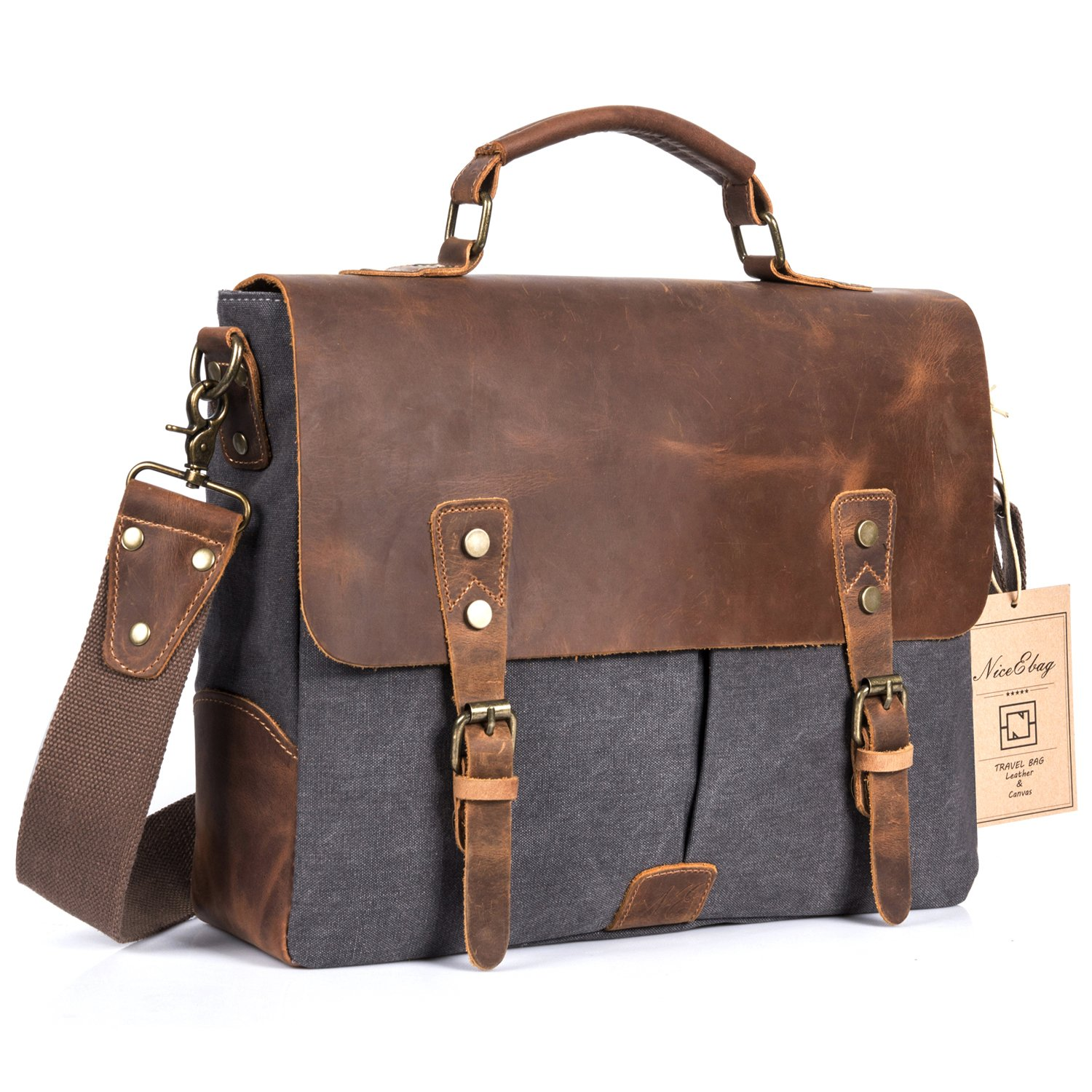 308f328240b Amazon.com  NiceEbag Leather Messenger Bag Vintage Canvas Laptop Shoulder  Bag Men Satchel Briefcase Bag Fits Up 13.3 Inch Laptop (Dark Grey)   Computers   ...