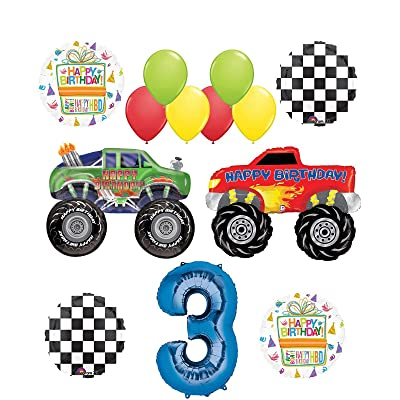 Monster Truck Party Supplies 3rd Birthday Balloon Bouquet Decorations: Toys & Games