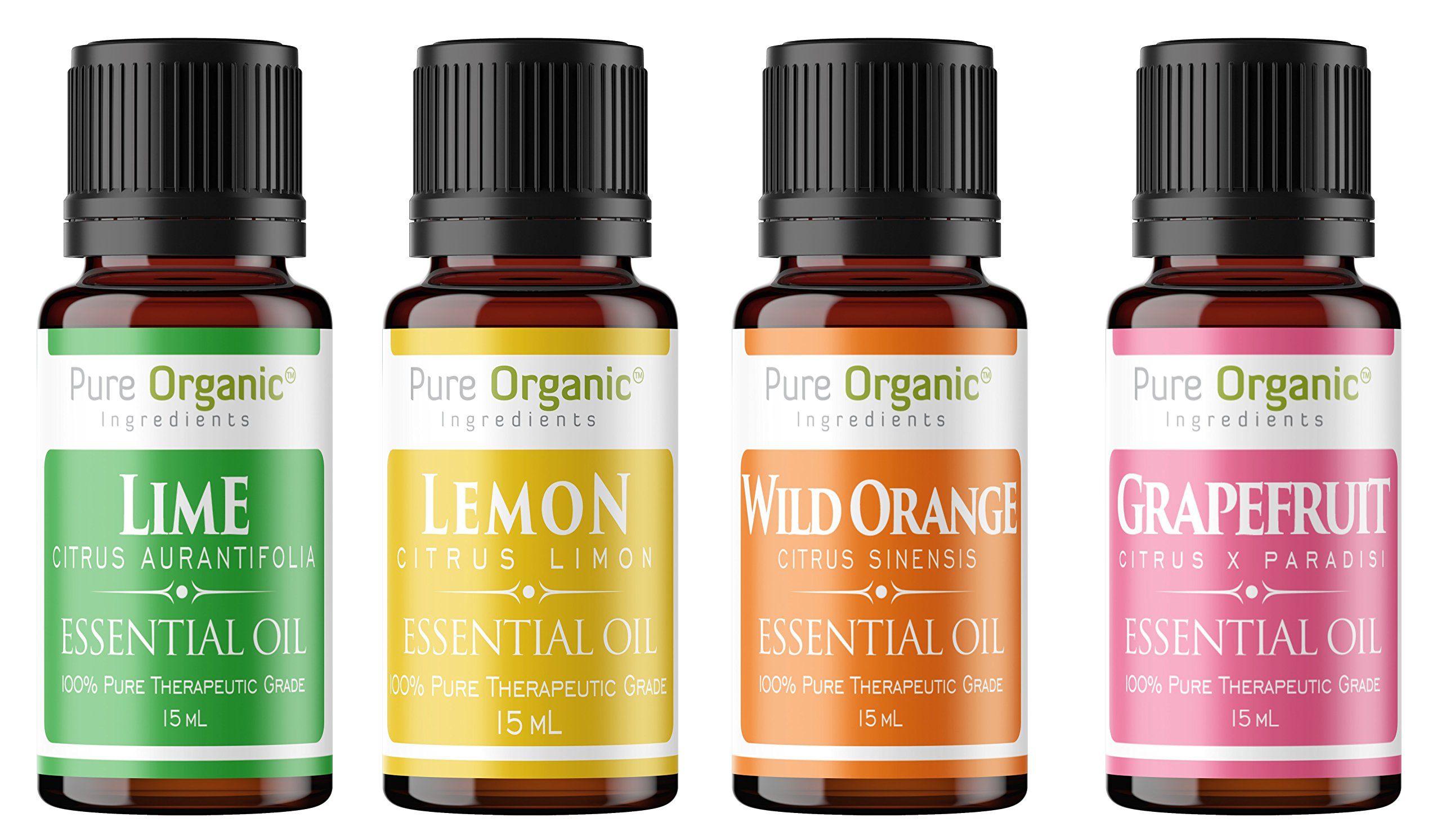 Citrus Essential Oil 4 Piece Gift Set by Pure Organic Ingredients, Grapefruit, Lemon, Lime & Wild Orange, Full Size 15 mL Bottles, Highest Quality, Food Grade, Starter Pack, Edible by Pure Organic Ingredients