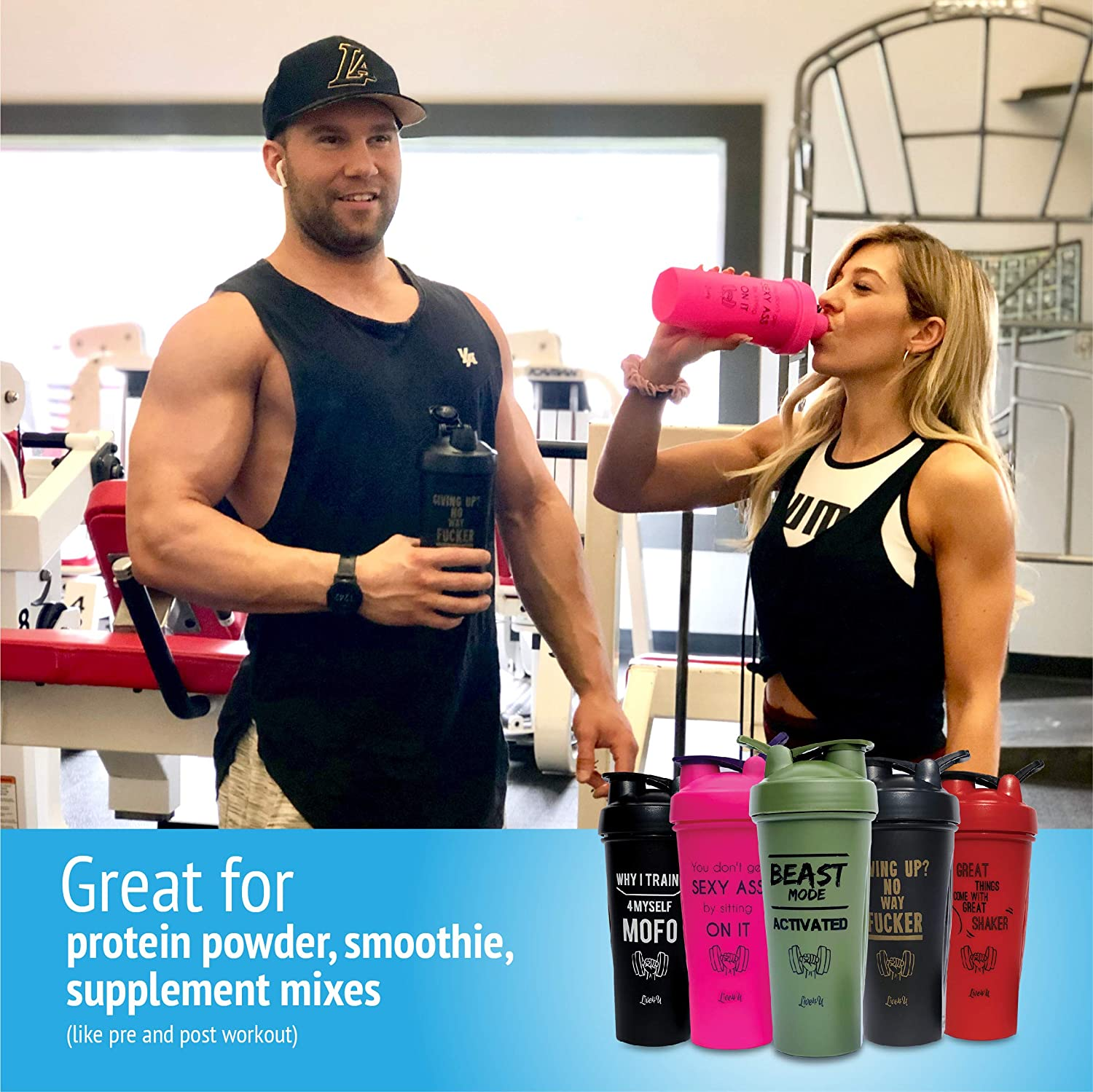 Great for Supplement Mixes or Smoothies Sexy Ass 28oz//600ml Live4U Protein Shaker Bottle Blend Your Favorite Fitness Sports Workout Nutrition Drink with Our Unique Mixball BPA Free