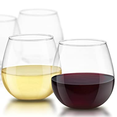 JoyJolt Spirits Stemless Wine Glasses 15 Ounce, Set of 4 Great For White Or Red Wine Mother's Day Wine Gifts Wines Glass Sets
