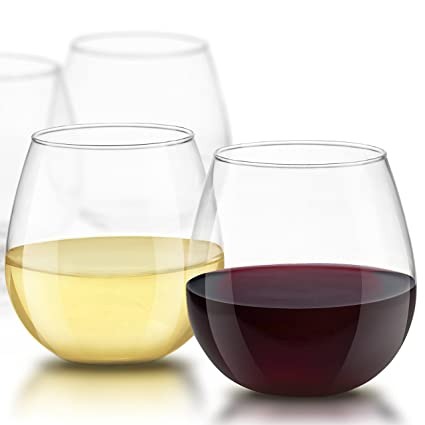 cf54a60c3ec JoyJolt Spirits Stemless Wine Glasses for Red or White Wine (Set of  4)-15-Ounces