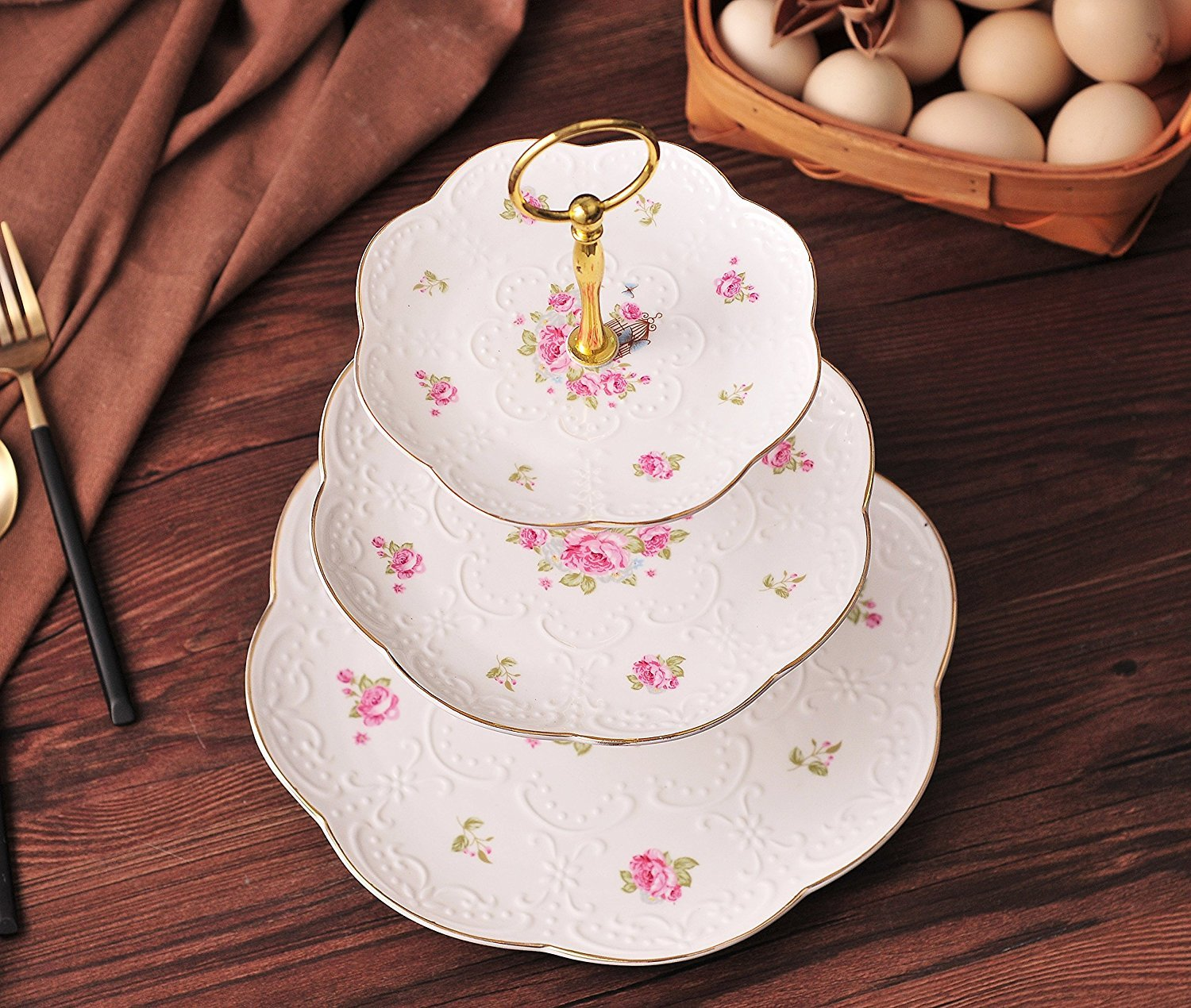 3 Tier Jusalpha Elegant Embossed Porcelain 3-tier Cake Stand// Cupcake Stand// Tea Party Pastry Serving platter in Gift Box FL-Stand 03