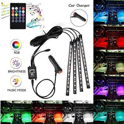 Car LED Strip Lights, 4pcs 48 LEDS Interior Car Lights, Multicolor Music Under Dash Lighting Kit with Sound Active Function and Wireless Remote Control, Car Charger Included, DC 12V: Automotive