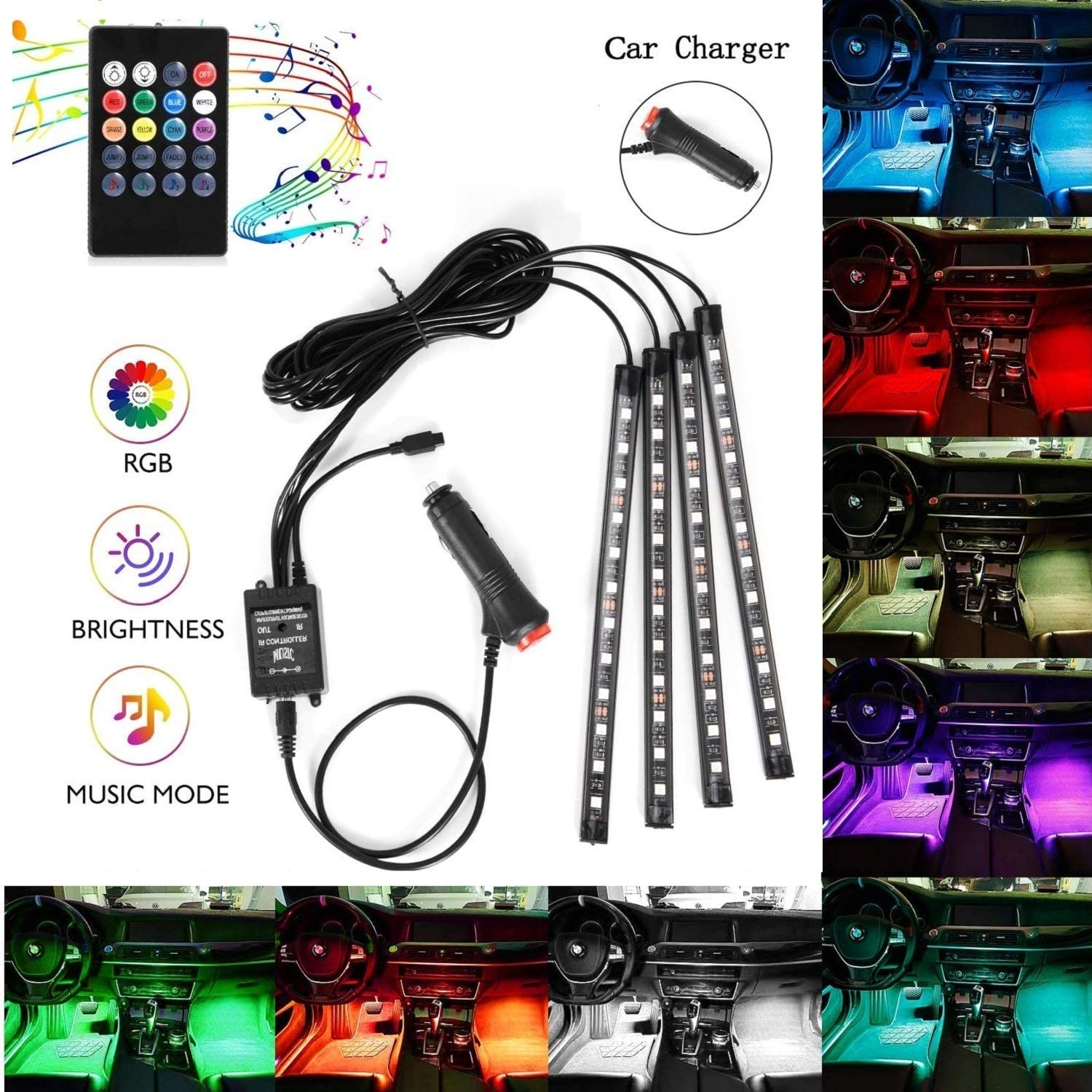 Car LED Strip Lights, 4pcs 48 LEDS Interior Car Lights, Multicolor Music Under Dash Lighting Kit with Sound Active Function and Wireless Remote Control, Car Charger Included, DC 12V