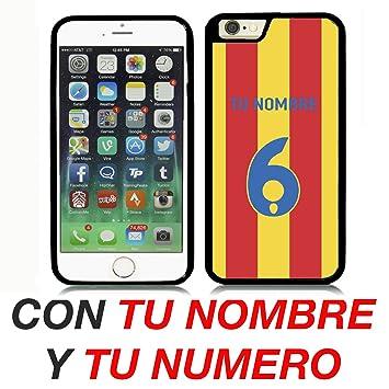 VALENCIA CF CARCASA PERSONALIZADA IPHONE 6 4.7` CON TU NOMBRE Y TU NUMERO FUTBOL COLORES