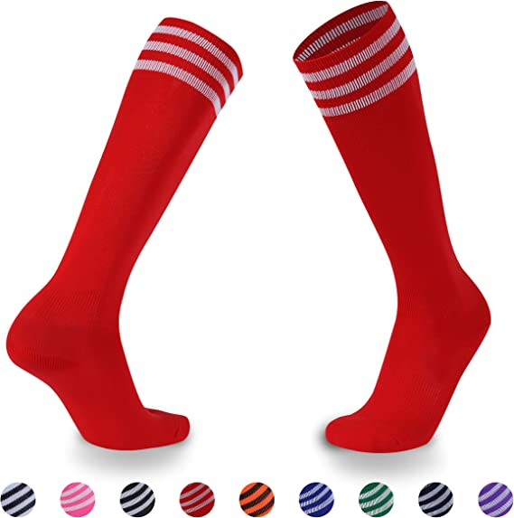 Ristake Striped Soccer Socks, Unisex Knee High Team Sports Baseball Football Basketball Volleyball Socks, 1/2 Pack