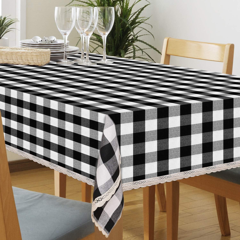 Buffalo Check Cotton Tablecloth Rectangular Black and White Plaid Tablecloth