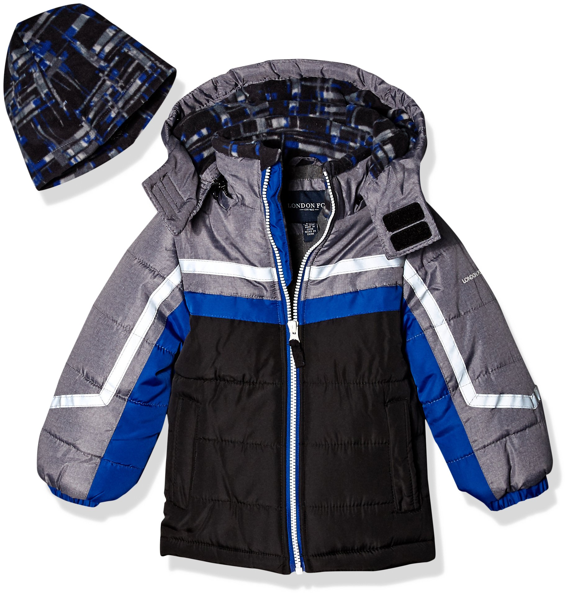 London Fog Toddler Boys' Active Heavyweight Jacket with Ski Cap, Super Blue, 2T