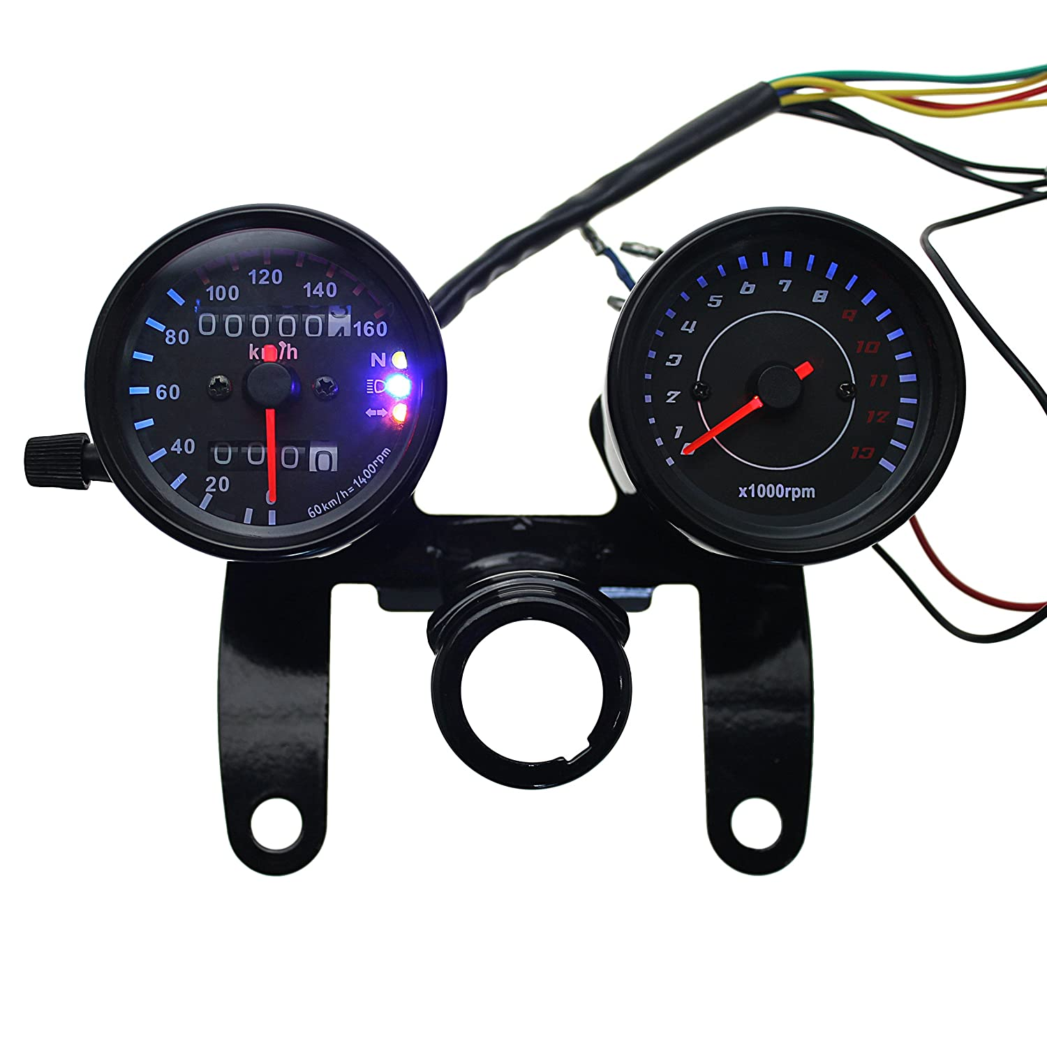 Iztoss 12v Motorcycle Scooter Black Led Odometer Suzuki 6 Volt Wiring Diagram Speedometer Gauge And 13000rpm Tachometer With Bracket For Yamaha Sr Xv Rx Cafe Racer