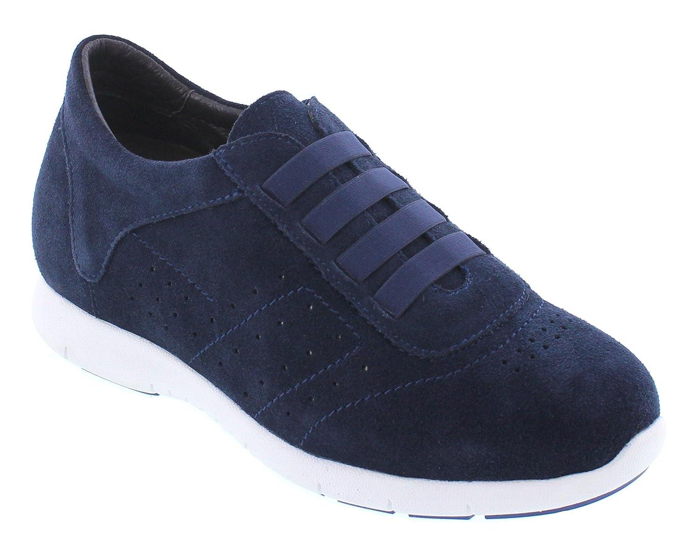 CALTO Y1031-6,1 cm Größer - Die Höhe Steigerung Aufzug Schuhe - Navy Blau Mode Turnschuhe
