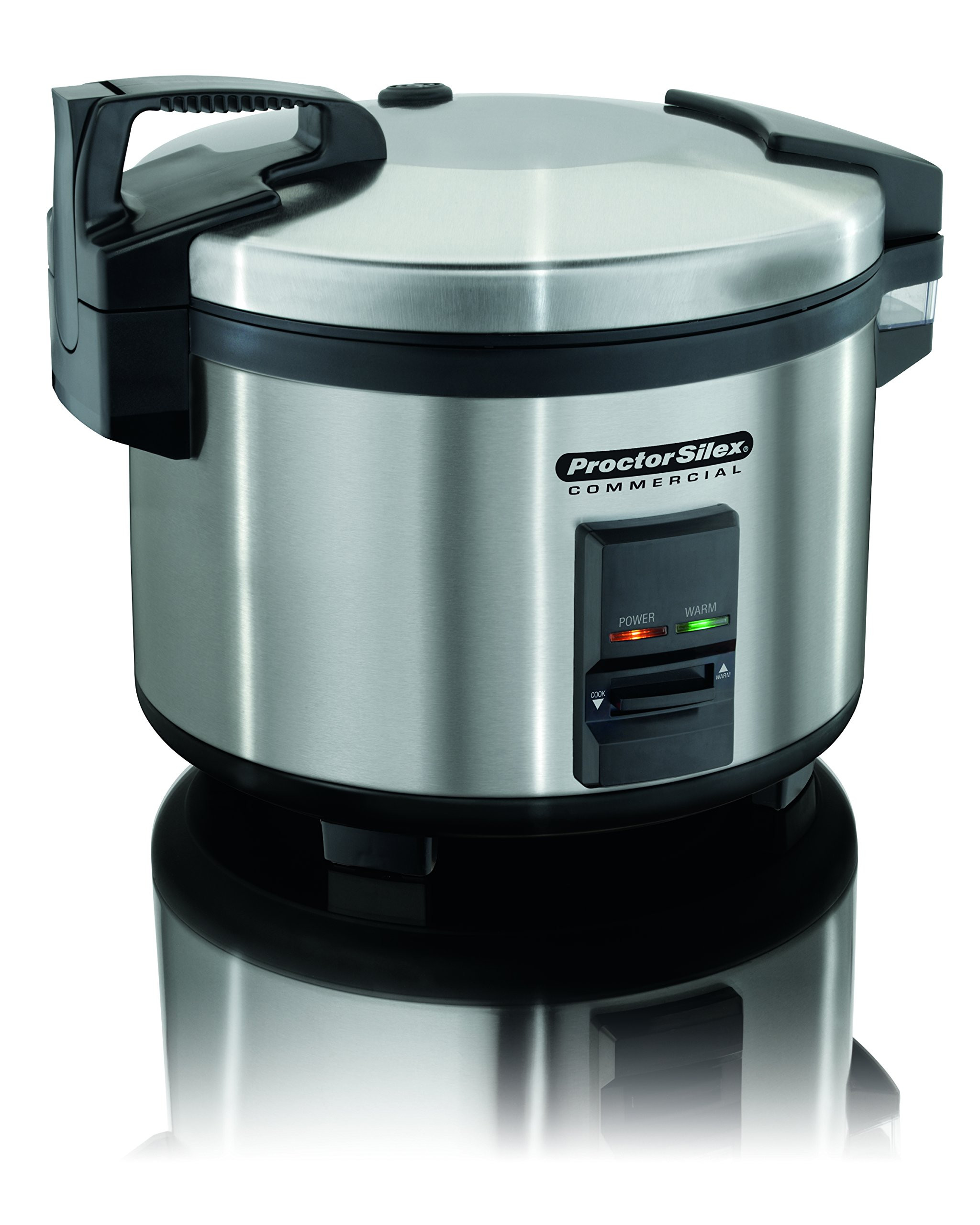 Proctor Silex Commercial 37540 Rice Cooker/Warmer, 40 Cups Cooked Rice, Non-Stick Pot, Hinged Lid, Stainless Steel Housing