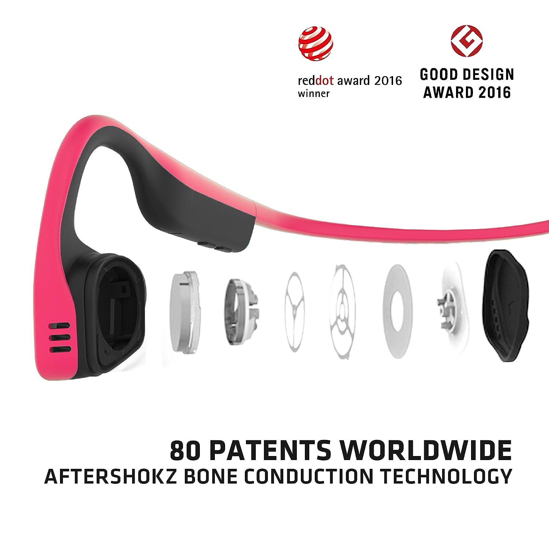 8aa0b0b5ea AFTERSHOKZ trekz Titanium Bone conduction Casque audio Bluetooth à  conduction osseuse pour activité sportive avec microphone, Rose: Amazon.fr:  High-tech