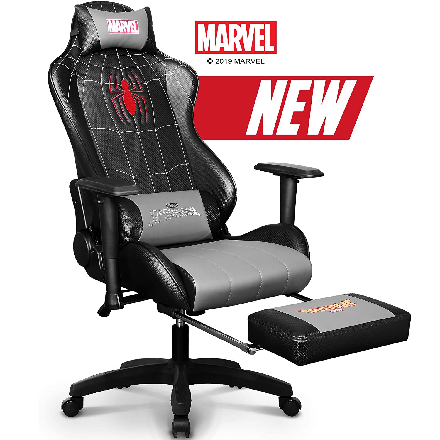 Marvel Avengers Gaming Chair Desk Office Computer Racing Chairs – Recliner Adults Gamer Ergonomic Game Footrest Kids Reclining High Back Support Racer Leather Rocker Foot Rest
