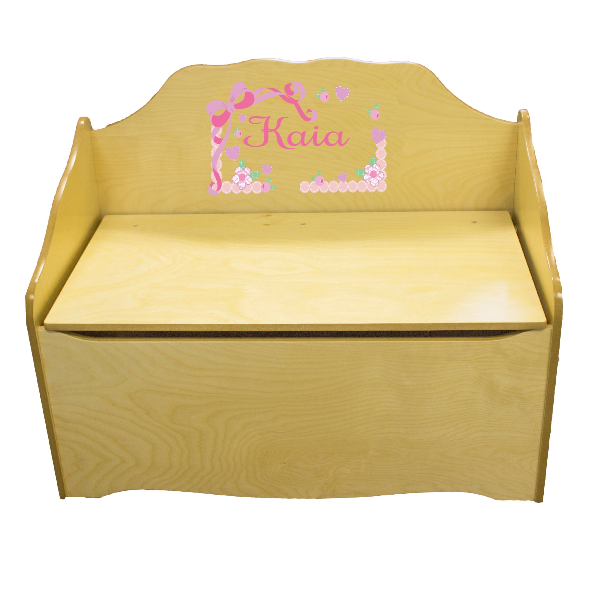 Personalized Pink Bow Childrens Natural Wooden Toy Chest