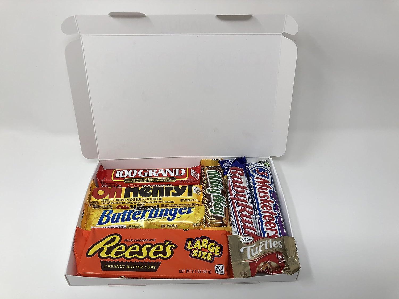 Mini caja de dulces de chocolate estadounidense | Incluye Butterfinger, Reeses, Hersheys, Oh Henry Bar | Selección de degustación de dulces americanos en una caja de regalo Kurious Kandy: Amazon.es: Alimentación y