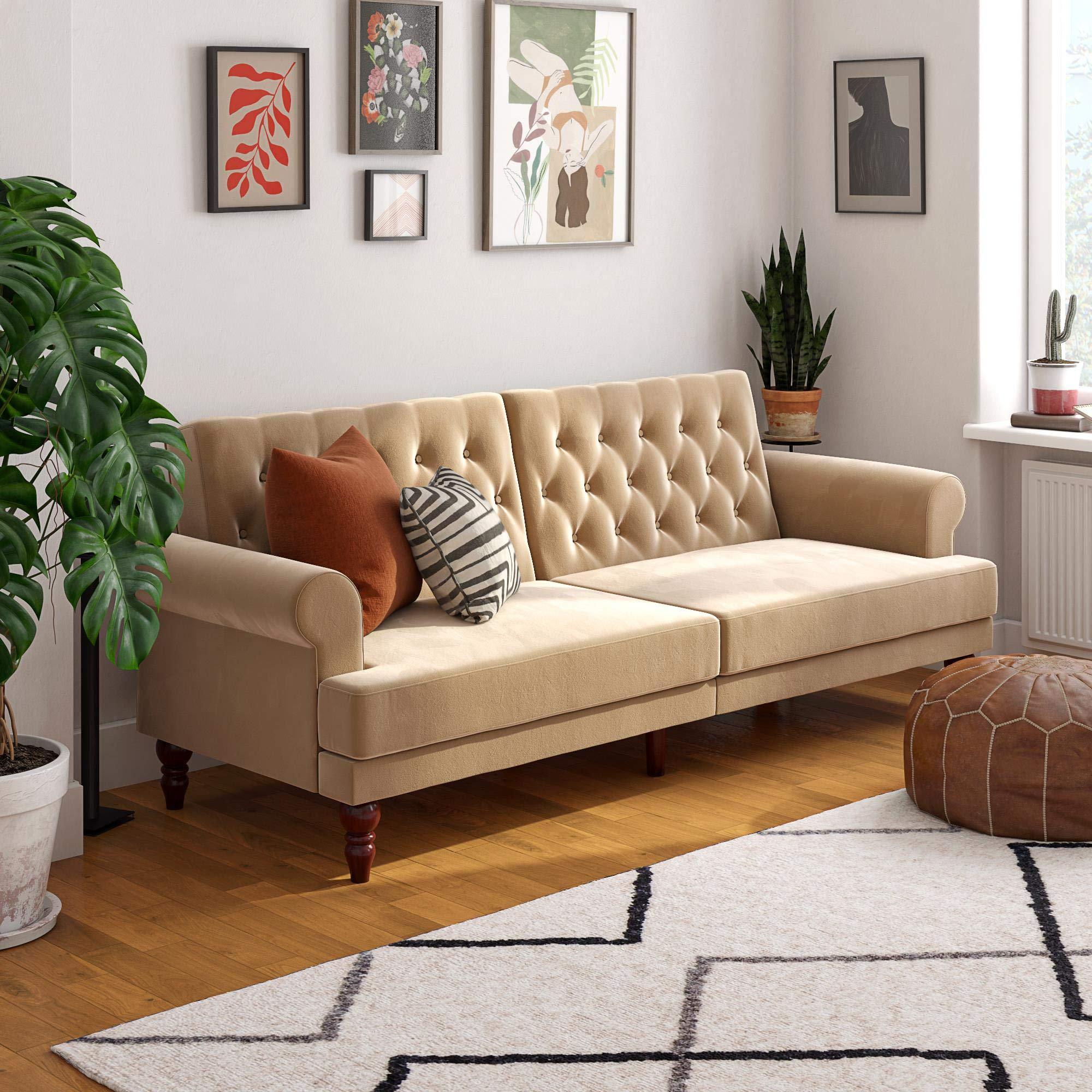 Novogratz Upholstered Cassidy, Convertible Couch, Ivory Velvet Futon by Novogratz